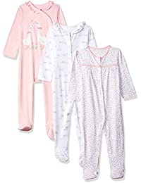 Mothercare Baby Girls' Regular Fit Cotton Sleepsuit (Pack of 3)