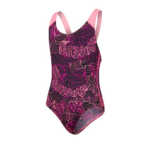 Speedo Mädchen Candy Bounce Allover Splashback Badeanzug, Black/Bubblegum Pink/Diva schwarz, 32