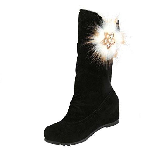 Stiefel Damen Flache Schuhe Sonnena Frauen Winterstiefel Warm Mid Kalb Stiefel Warm Gefütterte Winterschuhe Wildleder Halbschaft Stiefel Runder Zeh Schneestiefel Blockabsatz Boots (39, Sexy Schwarz) (Kalb Wildleder Boot)