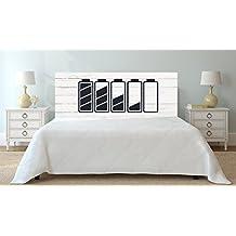 Cabecero Cama PVC Textura Icono Bateria sobre madera blanca 100x60cm   Disponible en Varias Medidas   Cabecero Ligero, Elegante, Resistente y Económico