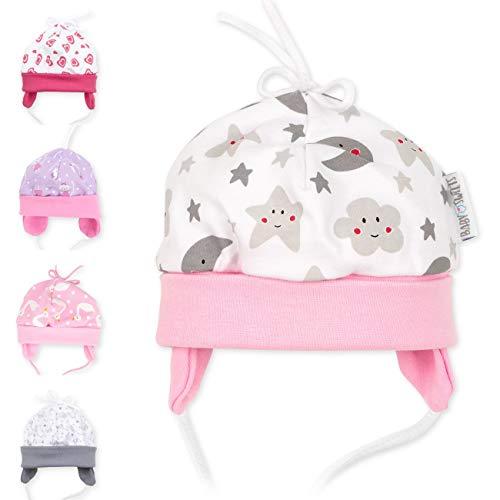 Baby Sweets Baby Mütze Mädchen weiß grau rosa | Motiv: Sweet Dreams | Babymütze zum Binden für Neugeborene & Kleinkinder | Größe: 12 Monate (80)...
