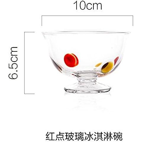 yifom Pesce Occhi ciotole ciotola da dessert in vetro Red