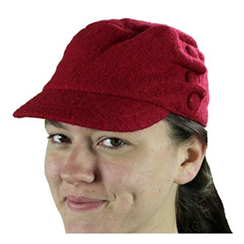 Damenhut Conductor Cap Newsboy Red (Red Newsboy Cap)