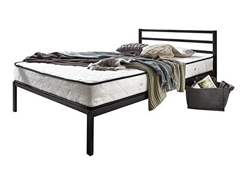 Atlantic Home Collection Bett SUNNY mit Lattenrost, 200 x 120 x 85 cm, Metall, Schwarz -