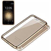 Funda de Silicona Diseño Premium para BQ Aquaris U Plus Borde Metalizado (Dorado)