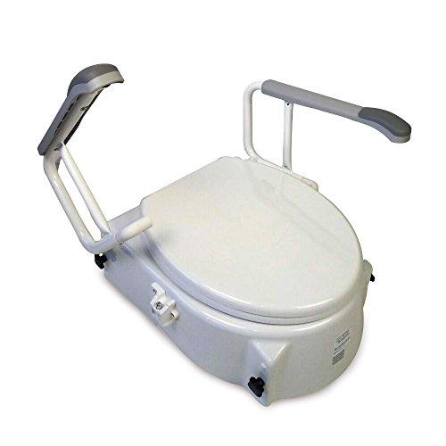Toilettenaufsatz mit Deckel regulierbar und schrägstellbar mit klappbaren Armlehnen