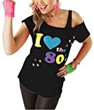 Womens I Love The 80s T shirt Top Ladies I Love 80s Fancy Dress Hen Night Stag Do Parties Tees Top Branded, Black, UK 10-12