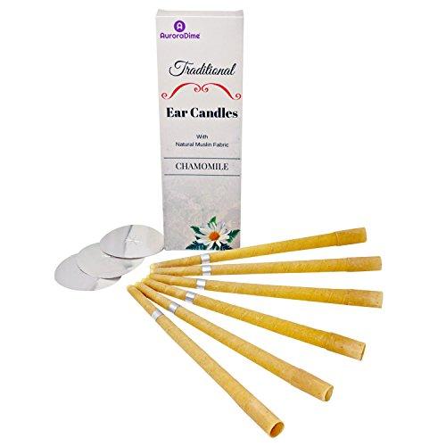 Velas de manzanilla tradicionales para terapia de velas en los oídos y aromaterapia ~ Cera de abeja y muselina de algodon natural ~ Filtros y discos protectores ~ Calmantes, hechas a mano, pack de 6