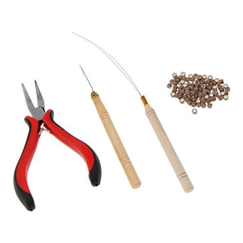 T TOOYFUL Pro Silikon Micro Ringe Bead Feather Haarverlängerungen Tools Zangen Loop Hook - Braun (Haarverlängerung Nadel-tool)