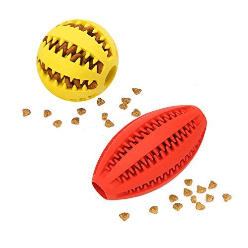 Hunde ball Und Rugby 2 Stück | Naturkautschuk Kauspielzeug | Minzgeschmack | Robust & Langlebig | ø 7cm mit Dental Zahnpflege Funktion | Geeignet Langlebiger Hundespielball für große & kleine Hunde