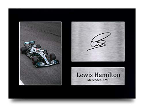 Lewis Hamilton Les Cadeaux Ont Signé A4 L'Autographe Imprimé Mercedes F1 Affichage d'image de Photo D'Empreinte