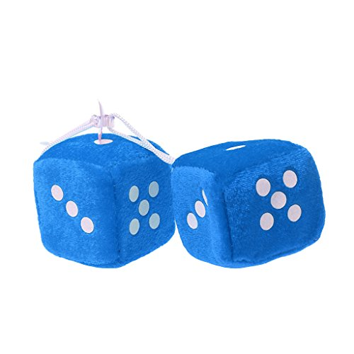 yaonow Aufhängen Fuzzy Dice Plüsch Dekorativem mit Dots Retro Auto Anhänger Charms Home Dekoration Blau (Blau Für Dice Auto Fuzzy)