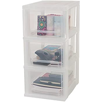Iris Ohyama tour de rangement sur roulettes à 3 tiroirs - Smart Drawer Chest - SDC-303, plastique, blanc/transparent, 48 L, 29 x 39 x 62 cm