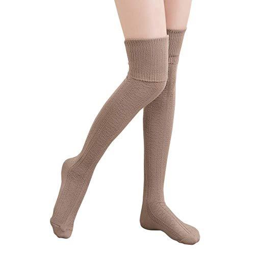 DRESHOW Damen Overknee Knee High Socks Kniestrümpfe Mädchen Warme Beinlinge Stricken Sport Socken Leggings Strümpfe Baumwollstrümpfe -