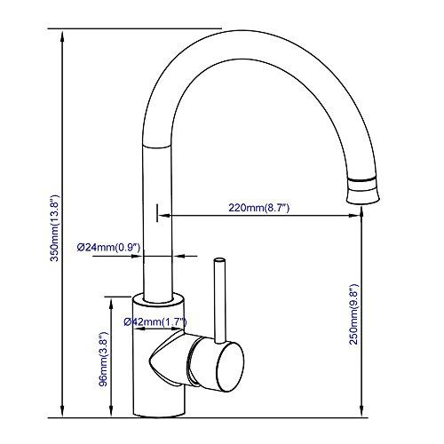 Homelody Wasserhahn Küche mit Brause Küchenarmatur 360° schwenkbar/drehbar Auslauf Spültischarmatur Spülbecken Spültisch Armatur Mischbatterie für Küche - 6