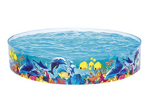 Bestway FILL 'N FUN Odyssey Pool, Pool rund für Kinder, mit buntem Unterwasser-Design, 244x46 cm