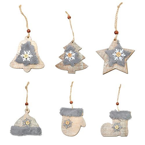 Wenquan,6PCS Nuovo modello albero di Natale Stella Campana legno lana trapano cappello pendente guanti stivali neve pulsante ornamenti(color:MARRONE)