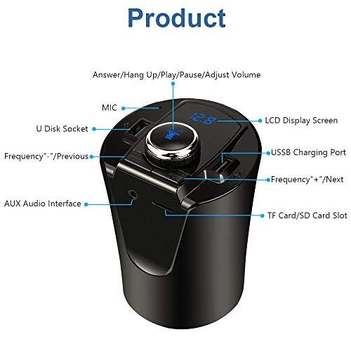 Eleganter FM-Transmitter für das Auto, mit Getränkehalter, unterstützt U-Festplatten, TF-Karte, Dual-USB-Port (Dual-port-blitz-auto-ladegerät)