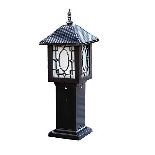 Vintage Outdoor Post Lichtmast Säule Lampe Laterne Pier Mount für Deck Terrasse Veranda Decking Patio Pathway Beleuchtung wasserdicht bewertet IP55 E27 (Color : Black) -