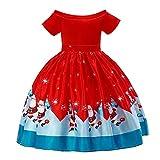 Tonsee Kinder Prinzessin Kleider Weihnachten Gedruckt Kleider Off-Shoulder Partykleid Hochzeit Ärmelloses Ballkleid Abendkleid Festlich Kostüme Mode Kinderkleidung Kleider Jugendweihe Mädchen