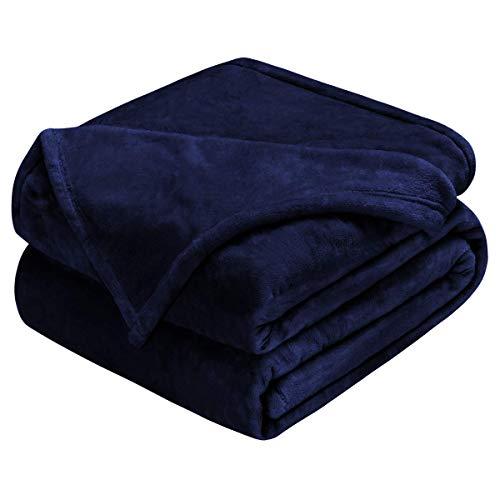 homeideas Luxus 380gsm Fleece Kuscheldecke Super Soft Warm Fuzzy leicht Bett oder Couch Decke, Fleece, dunkelblau, Twin(66