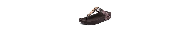 Playa De Verano Chancletas Parte Baja Gruesa Casual De Mujer con Zapatos De Diamantes De Imitación,Brown,38 -