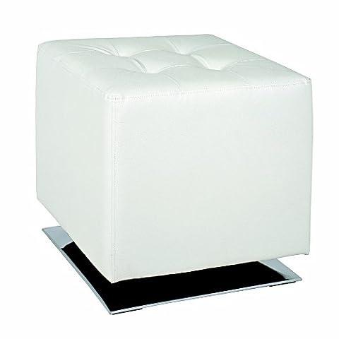 Haku Möbel 30688 Pouf Cuir Synthétique/Acier Chromé/Blanc 40 x 40 x 42 cm