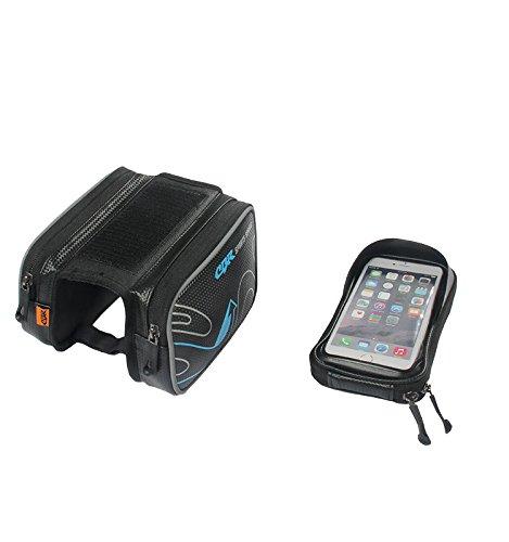 CBR Moutain Bike Oberrohrtasche Fahrradtasche Rahmentasche Handytasche 6.0 Zoll Mit Touch Screen TPU Wasserfest Einfach zu Installieren Blau