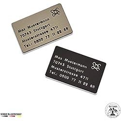Drohnenkennzeichen / Adressschild / Fluggerätekennzeichnung / Quadrocopterkennzeichnung aus eloxiertem Aluminium inkl. individuller CNC Gravur und doppelseitigem Klebeband (Bronze Dunkel)