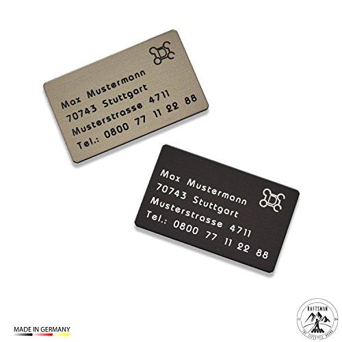 Drohnenkennzeichen / Adressschild / Fluggerätekennzeichnung / Quadrocopterkennzeichnung aus eloxiertem Aluminium inkl. individuller CNC Gravur und doppelseitigem Klebeband (Bronze Hell)
