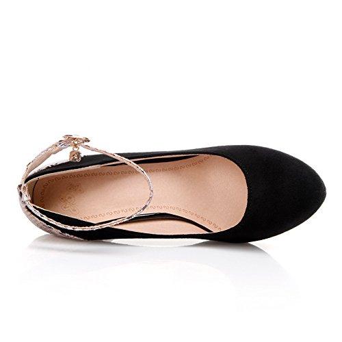 AgooLar Damen Schnalle Mattglasbirne Rund Zehe Stiletto Gemischte Farbe Pumps Schuhe Schwarz
