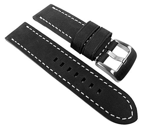PAN Ersatzband Uhrenarmband Kalbsleder schwarz 22320S, Stegbreite:24mm