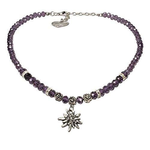 Alpenflüstern Perlen-Trachtenkette Fiona Crystal mit Strass-Edelweiß klein - Damen-Trachtenschmuck Dirndlkette lila-violett DHK155