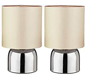 Pair of Bedroom Lamps, This Pair of Beautiful Modern Chrome Finish Touch Table Lamps With Cream Fabric Shades Are Perfect For Any Room Or Side Table from Pair of Bedroom Lamps