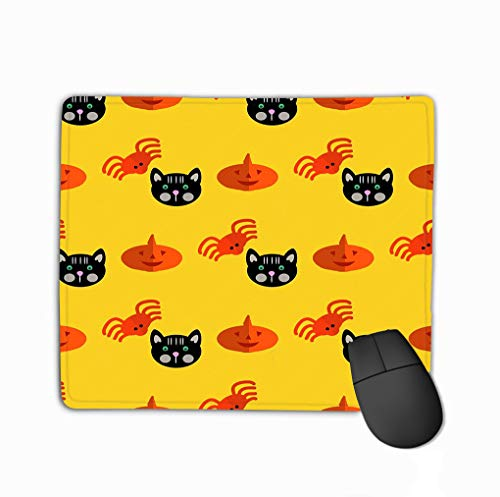 Mouse Pad Halloween Pattern Background Holiday Design Design Template Haunted Castle Trees Bats Full Moon Rectangle Rubber Mousepad 11.81 X 9.84 Inch