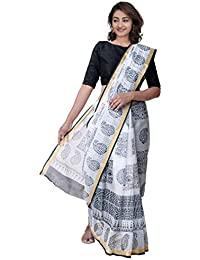 7559b0774d Unnati Silks Women Off White Hand Printed Pure kota Cotton Saree With  Blouse from the Weavers