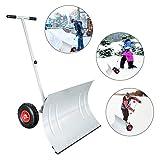 wolketon Pala da neve su ruote, angolo di pala regolabile in altezza, pala da neve, pala da neve, pala in plastica di 74 cm di larghezza