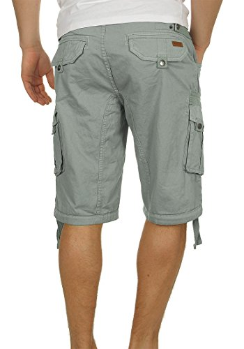 INDICODE Hampton Herren Cargo Shorts Bermuda Shorts kurze Hose mit Gürtel aus 100% Baumwolle Light Grey