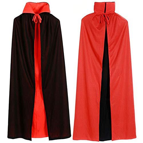 Adisputent Vampir Umhang Doppelseitig Stehkragen mit Kapuze Schwarz Rot Cape für Kind Erwachsene Halloween Kostüm Theater Dracula Mantel Kapuzenumhang 80cm-150cm