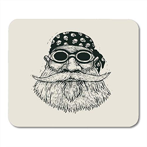 Mouse Pads Tattoo Man Bearded Biker in Motorcycle Sunglasses and Bandana Cartoon Character Engraving Style Old Retro Mouse Pad