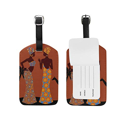 Luggage Tag Tropical Landscape Beautiful Black Woman Travel Tag Name Card Holder for Baggage Suitcase Bag 2 Pieces Set