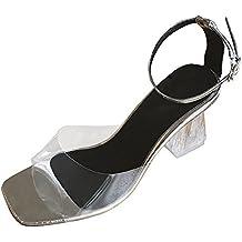BBestseller Tacones altos de mujeres, Moda Mujer sandalias transparentes Tobillo tacón alto fiesta zapatos abiertos