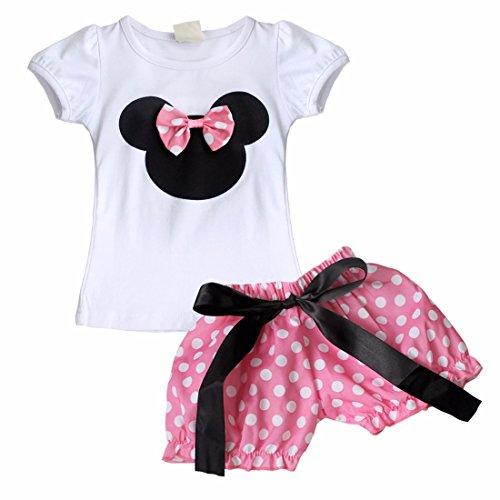 iEFiEL Conjunto de Camiseta y Pantalones Cortos o Falda de Verano para Bébes y Niñas con Lunares Pantalones Rosa 2-3 Años