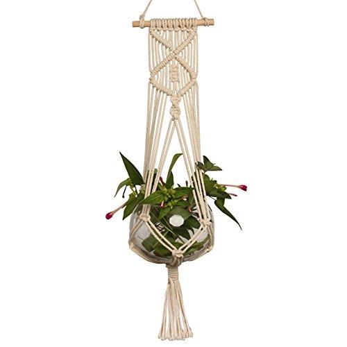Naturale macrame plant hanger, da interni ed esterni a forma di vaso in cotone e corda pentole pot holder (non incluso)