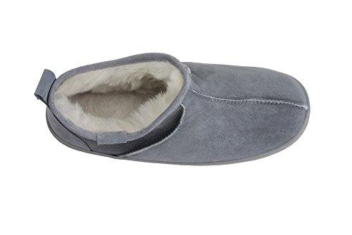 Lussuose Pantofole Unisex in Pelle di Pecora con Vera Pelliccia da Uomo o Donna Grigio/Bianco