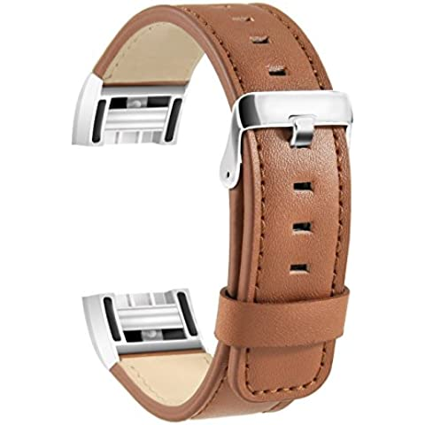 Fitbit Charge 2 Leather Band, SoftFloat Replacement Luxury Genuine Leather Band Strap for Fitbit Charge 2 ,with Metal Clasp (brown)