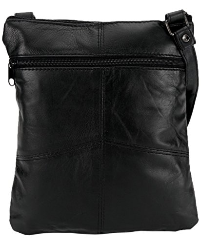 Ladies Super Soft Leather Shoulder Bag with Multiple Pockets - Black
