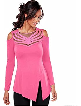 OverDose Camisa de empalme manga larga de cuello redondo blusa superior de las mujeres atractivas del cordón del...