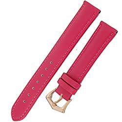 New 16mm Ladies Fuchsia Genuine Leather Watch Strap Band Padded SS Rose Gold Buckle
