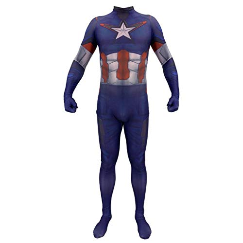 Tanz Kostüm J&l - SPIDER NI Erwachsenen Cosplay Kostüm Captain America Avengers Siamesische Strumpfhose Halloween Ball Cosplay Performance Weihnachtsgeschenke (Color : Blue, Size : L)